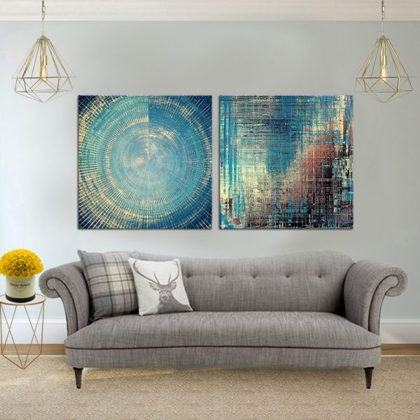 זוג תמונות קנבס - אבסטרקט כחול לעיצוב הבית