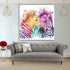 תמונת קנבס - זברות צבעוניות לסלון לעיצוב הבית, לחדרי שינה או למטבח