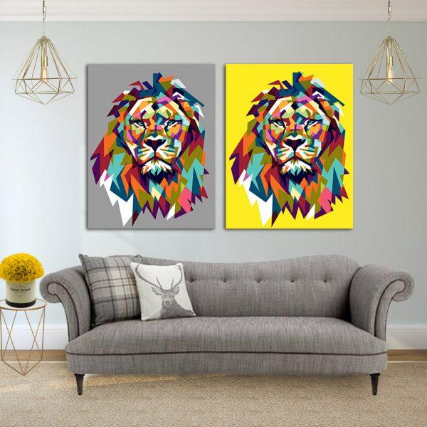 זוג תמונות קנבס - אריה צהוב אפור לסלון לעיצוב הבית, לחדרי שינה או למטבח