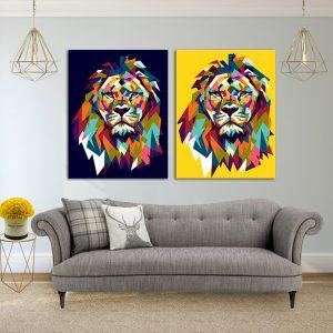 זוג תמונות קנבס אריה חרדל כחול לסלון לעיצוב הבית, לחדרי שינה או למטבח