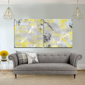 זוג תמונות קנבס אבסטרקט ספליטרס צהוב אפור לסלון לעיצוב הבית, לחדרי שינה או למטבח