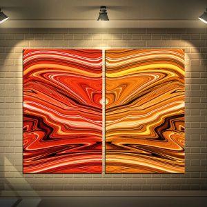 תמונת קנבס אבסטרקט כתומים לסלון לעיצוב הבית, לחדרי שינה או למטבח