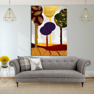 תמונת קנבס יער סתוי ציורי לסלון לעיצוב הבית