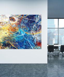 תמונת קנבס למשרד - אבסטרקט סילסול כחלחל צהבהב לעיצוב הבית, לחדרי שינה או למטבח