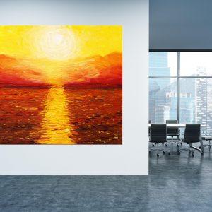 תמונת קנבס - שקיעה צהובה למשרד ולעיצוב הבית, לחדרי שינה או למטבח