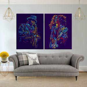 תמונות קנבס נגני הג'אז לסלון לעיצוב הבית, לחדרי שינה או למטבח