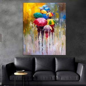 תמונת קנבס - מטריות בגשם לסלון לעיצוב הבית, לחדרי שינה או למטבח