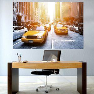 תמונת קנבס - מוניות ניו יורק 2 למשרד לעיצוב הבית, לחדרי שינה או למטבח