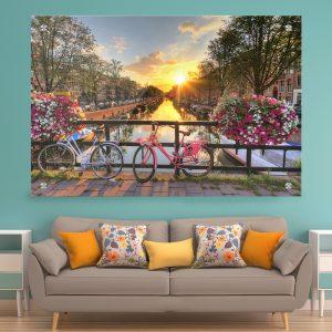 תמונת זכוכית על גשר באמסטרדם לעיצוב הבית על קיר בסלון