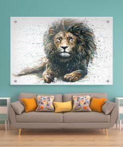 תמונת זכוכית אריה עוצמתי לעיצוב הבית על קיר בסלון