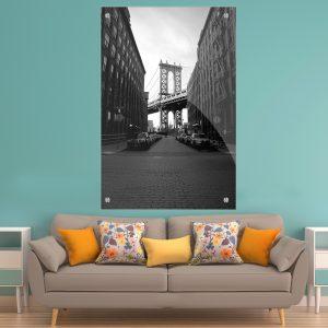 תמונת זכוכית גשר מנהטן לעיצוב הבית על קיר בסלון