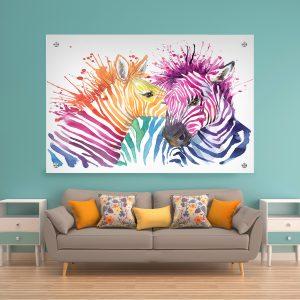תמונת זכוכית זברות צבעוניות לעיצוב הבית על קיר בסלון