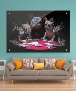 תמונת זכוכית ערב כלבים לעיצוב הבית על קיר בסלון