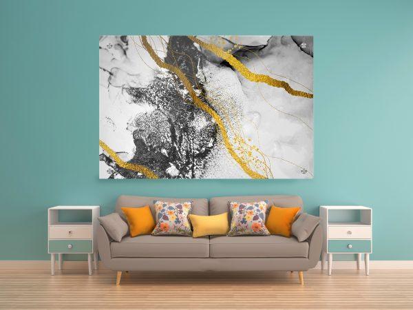 תמונת זכוכית אבסטרקט שיש לבן שחור לעיצוב הבית על קיר בסלון