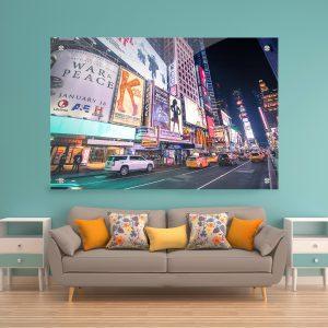 תמונת זכוכית ניו יורק טיימס סקוויר לעיצוב הבית על קיר בסלון