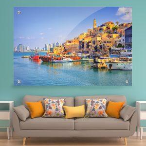 תמונת זכוכית נמל יפו לעיצוב הבית על קיר בסלון