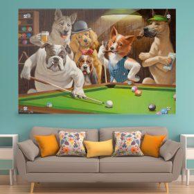 תמונת זכוכית כלבים משחקים פול לעיצוב הבית על קיר בסלון