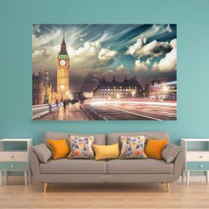 תמונת זכוכית לונדון בין הערביים לעיצוב הבית על קיר בסלון