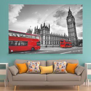 תמונת זכוכית לונדון שחור לבן אדום לעיצוב הבית על קיר בסלון