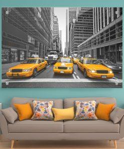 תמונת זכוכית מוניות ניו יורק לעיצוב הבית על קיר בסלון