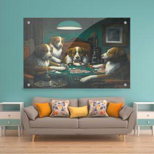 תמונת זכוכית כלבים משחקים פוקר לעיצוב הבית על קיר בסלון