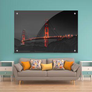תמונת זכוכית גשר הזהב לעיצוב הבית על קיר בסלון