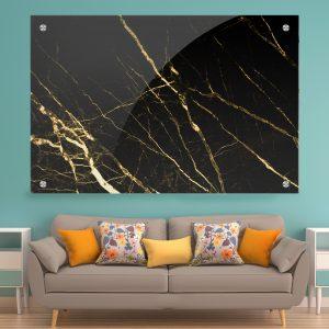 תמונת זכוכית שיש ענפים שחור זהב לעיצוב הבית על קיר בסלון