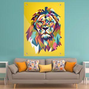 תמונת זכוכית אריה גאומטרי צבעוני חרדל לעיצוב הבית על קיר בסלון