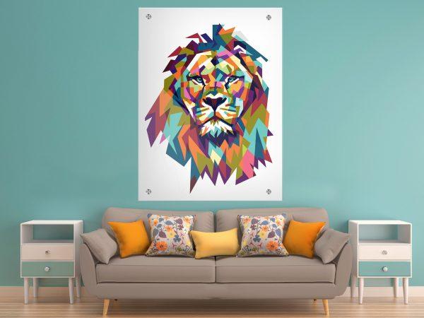 תמונת זכוכית אריה גאומטרי צבעוני לבן לעיצוב הבית על קיר בסלון