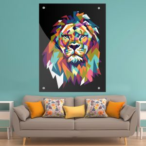 תמונת זכוכית אריה גאומטרי צבעוני שחורלעיצוב הבית על קיר בסלון