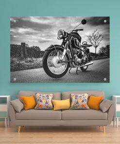 תמונת זכוכית אופנוע שחור לבן לעיצוב הבית על קיר בסלון