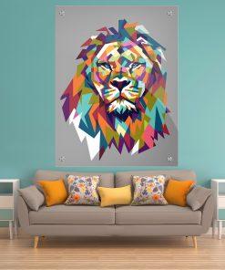 תמונת זכוכית אריה גאומטרי צבעוני אפור לעיצוב הבית על קיר בסלון