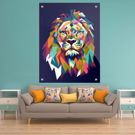 תמונת זכוכית אריה גאומטרי צבעוני כחול לעיצוב הבית על קיר בסלון