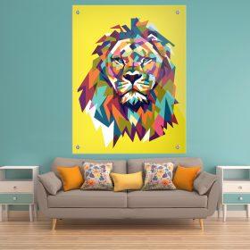 תמונת זכוכית אריה גאומטרי צבעוני צהוב לעיצוב הבית על קיר בסלון