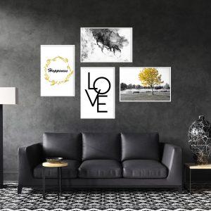 סט תמונות מעוצב לסלון ולמטבח לעיצוב הבית