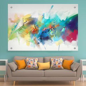 תמונת זכוכית אבסטרקט משיכות לסלון לעיצוב הבית