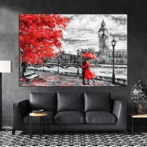תמונת קנבס זוג לונדון לסלון לעיצוב הבית