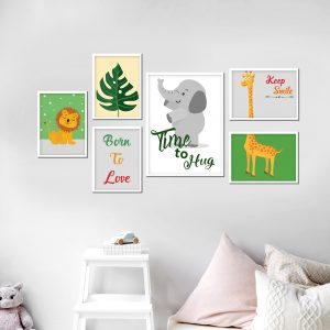 סט תמונות - חגיגה בספארי מעוצב לחדר, לעיצוב הבית על קיר בסלון