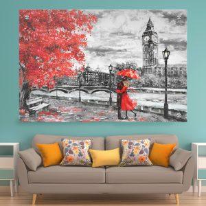 תמונת זכוכית זוג לונדון והמטרייה לסלון לעיצוב הבית