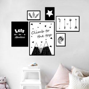 סט תמונות - לטפס לפסגה מעוצב לחדר, לעיצוב הבית על קיר בסלון