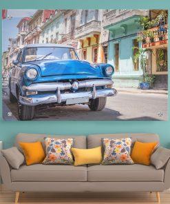 תמונת זכוכית קלסיקה כחולה לסלון לעיצוב הבית