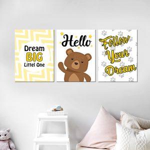 סט תמונות - לך בעקבות החלוםמעוצב לחדר, לעיצוב הבית על קיר בסלון