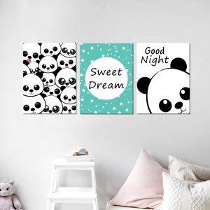 סט תמונות - פנדה מעוצב לחדר, לעיצוב הבית על קיר בסלון
