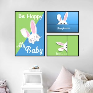 סט תמונות - ארנב שמח מעוצב לחדר, לעיצוב הבית על קיר בסלון
