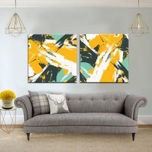 זוג תמונת קנבס אבסטרקט עונת התפוזים לסלון לעיצוב הבית