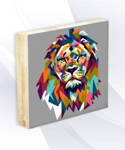 בלוק עץ -אריה צבעוני אפור אקססוריז ואבזרים לעיצוב הבית