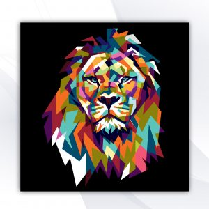 בלוק עץ -אריה צבעוני שחור אקססוריז ואבזרים לעיצוב הבית