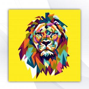 בלוק עץ -אריה צבעוני צהוב אקססוריז ואבזרים לעיצוב הבית