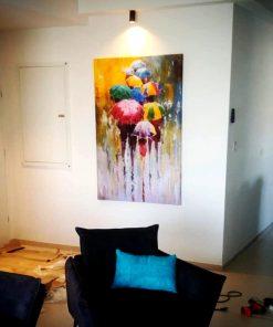 תמונת קנבס מטריות בגשם לבית - לקוח מרוצה