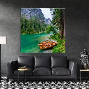 תמונת קנבס -סירות הכפר לסלון לעיצוב הבית